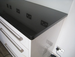 Black Granite Kitchens Worktops London with Glass Splashbacks