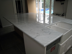 Carrara Marble kitchen island in Epsom