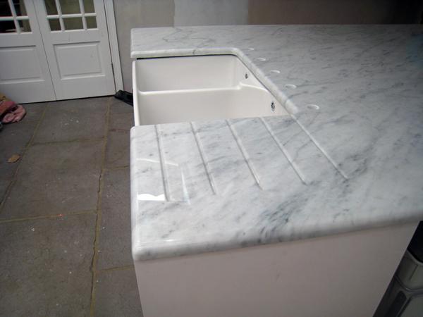 Carrara Marble Kitchen Island In Epsom Mg Granite Ltd