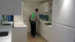 Quartz Kitchens Worktops London Notting Hill with Glass Mirror Splashback