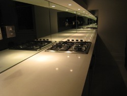 Quartz Kitchens Worktops London Earls Court with Glass Mirror Splashback